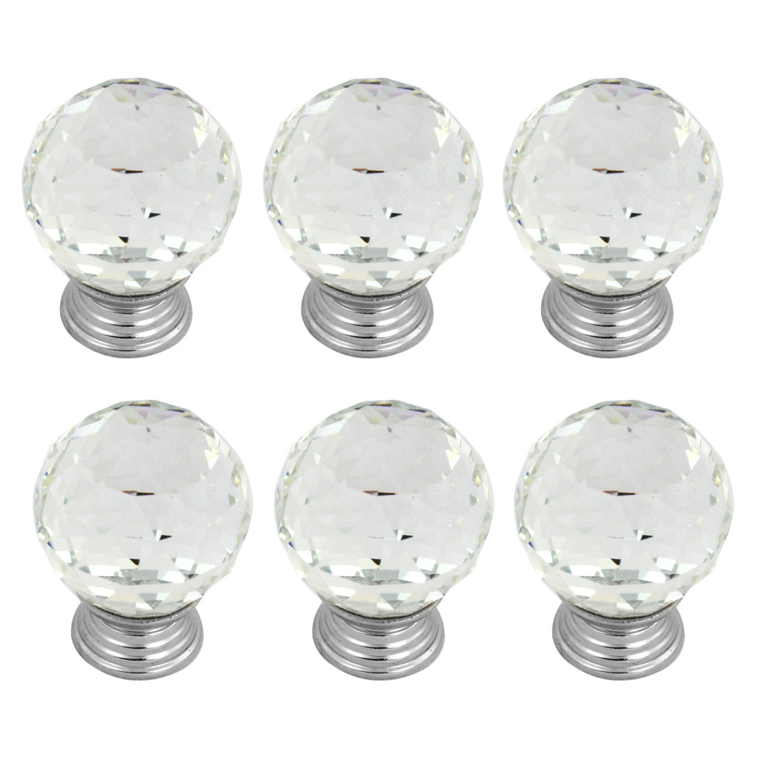 "1.2"" Faux Crystal Handle Cabinet Cupboard Drawer Door Pull Ball Knob 6 Pcs"