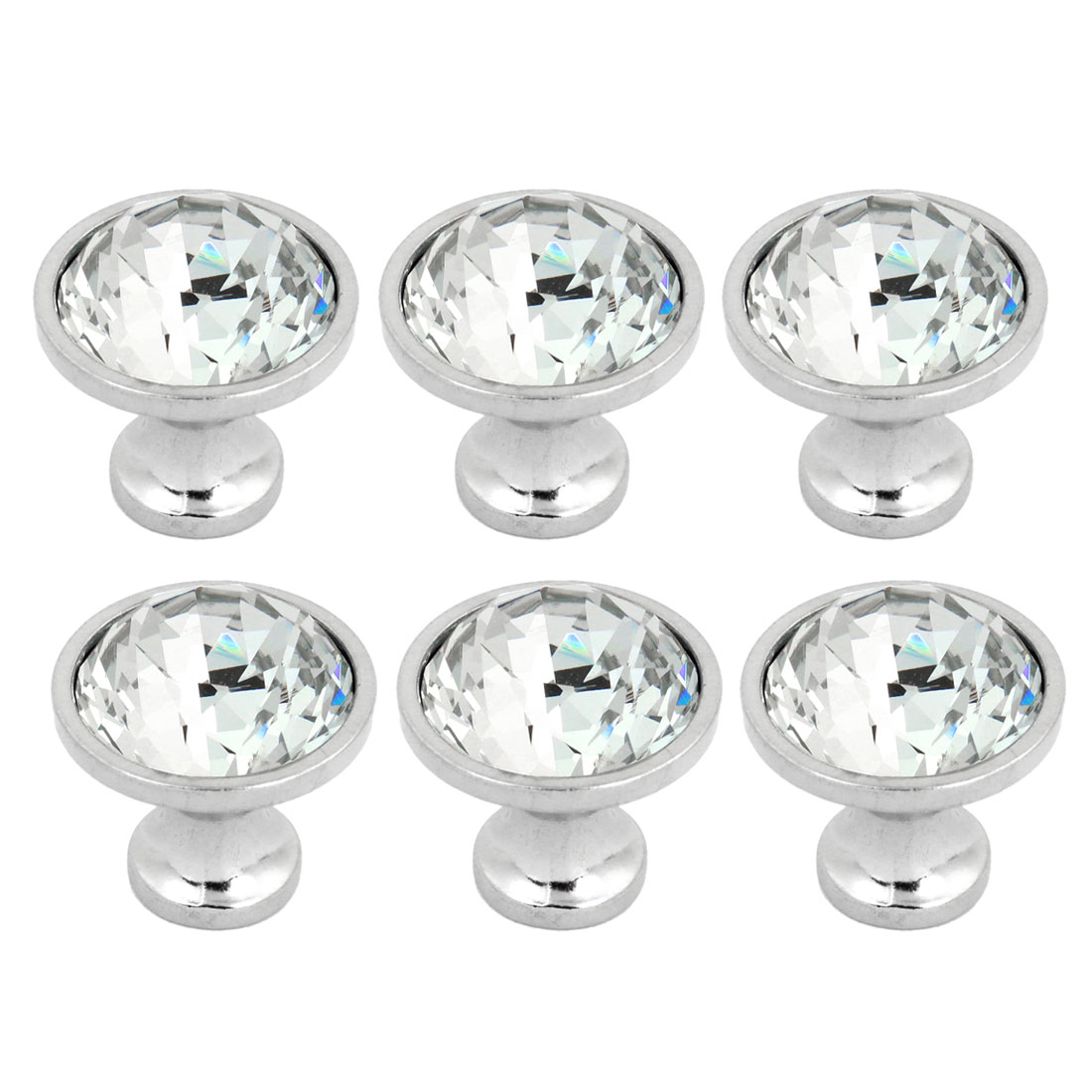 Bling Faux Crystal Cupboard Dresser Door Pull Handle Round Knob 6 Pcs