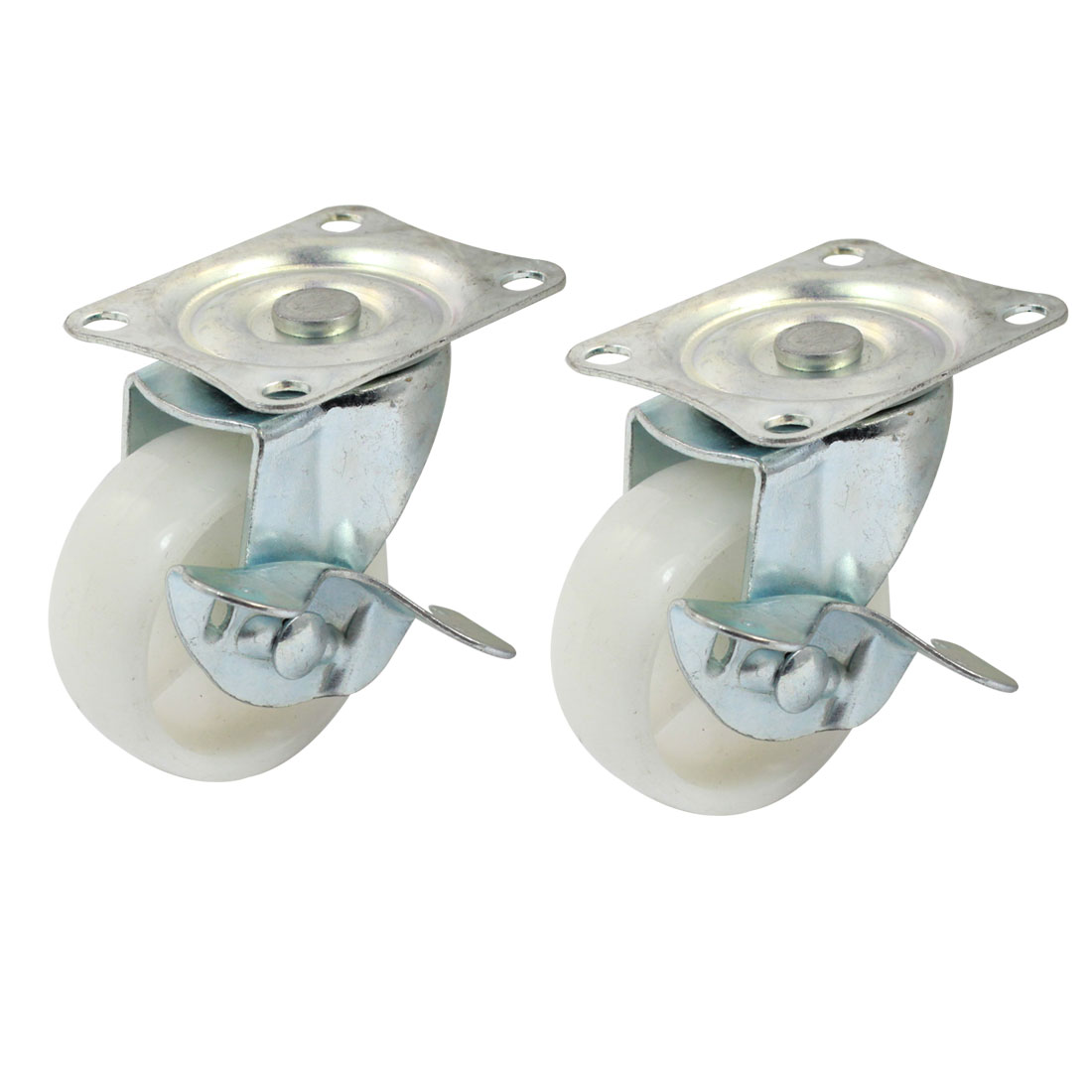 "Laundry Trolley 2"" Round Ball Bearing Rectangle Top Plate 360 Degree Rotary Swivel Brake Caster 2pcs"
