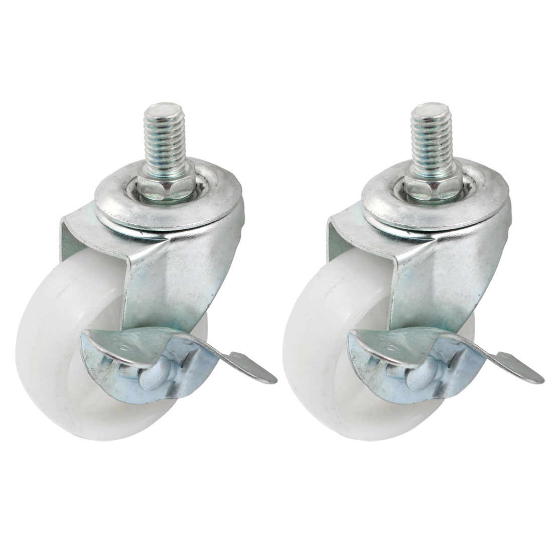 "Shopping Cart 10mm Thread Dia 2"" Rotary Round Wheel Swivel Brake Caster 2pcs"