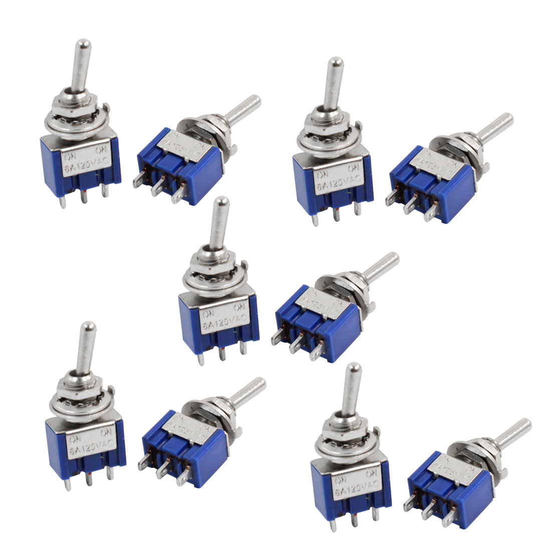 10pcs Self Locking Miniature Toggle Switch Blue 3 Pin SPDT On/On AC125V 6A