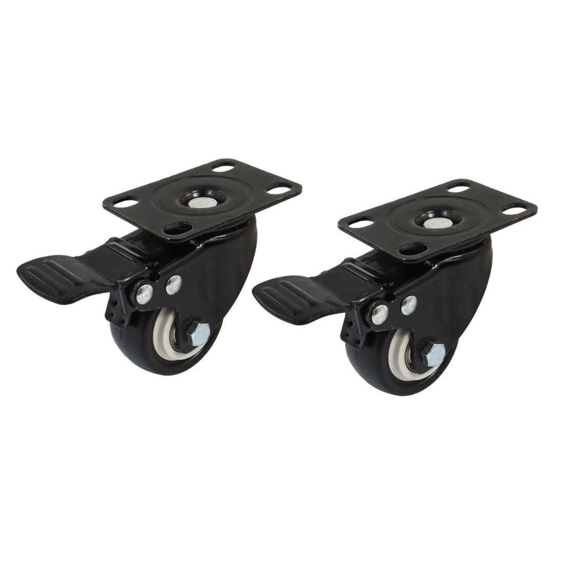 "Furniture Trolley 2"" Round Single Wheel Rectangle Top Plate 360 Degree Rotation Swivel Brake Lock Caster 2pcs"