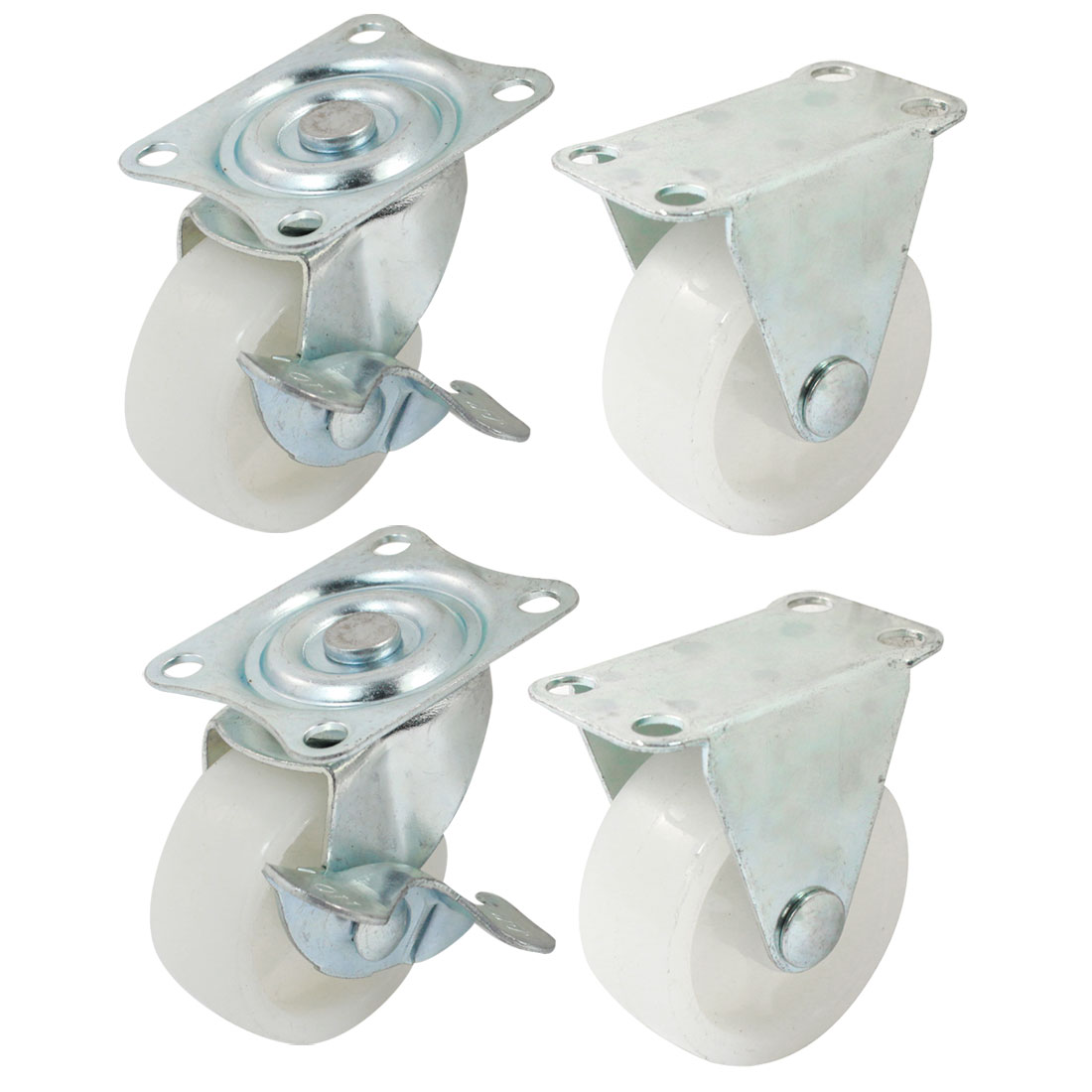 "Furniture Trolley 1.5"" Round Single Wheel Rectangle Top Plate 360 Degree Rotation Swivel Brake Fixed Caster 4 in 1"