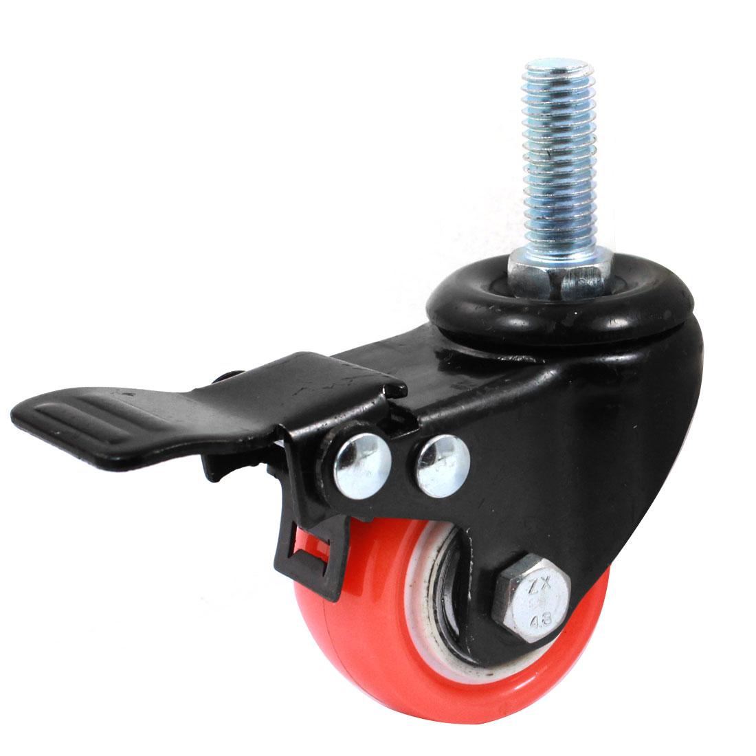 "Market Shopping Trolley Bakery Laundry Cart 10mm M10 Thread Dia 1.5"" Rotary Round Wheel Brake Caster Black Orange"