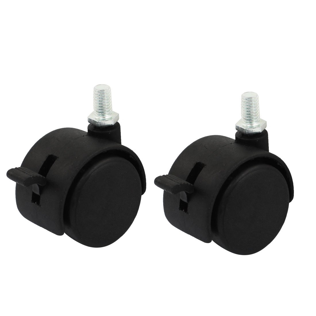 "2pcs 7.5mm Male Thread 1.5"" Round Rotatable Double Wheel Design Swivel Brake Caster for Shopping Carts"