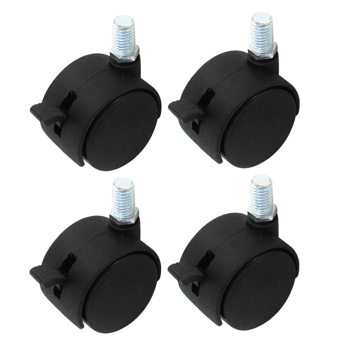 10mm Thread 40mm Twin Wheel Office Chair Rotary Swivel Brake Caster Black 4pcs