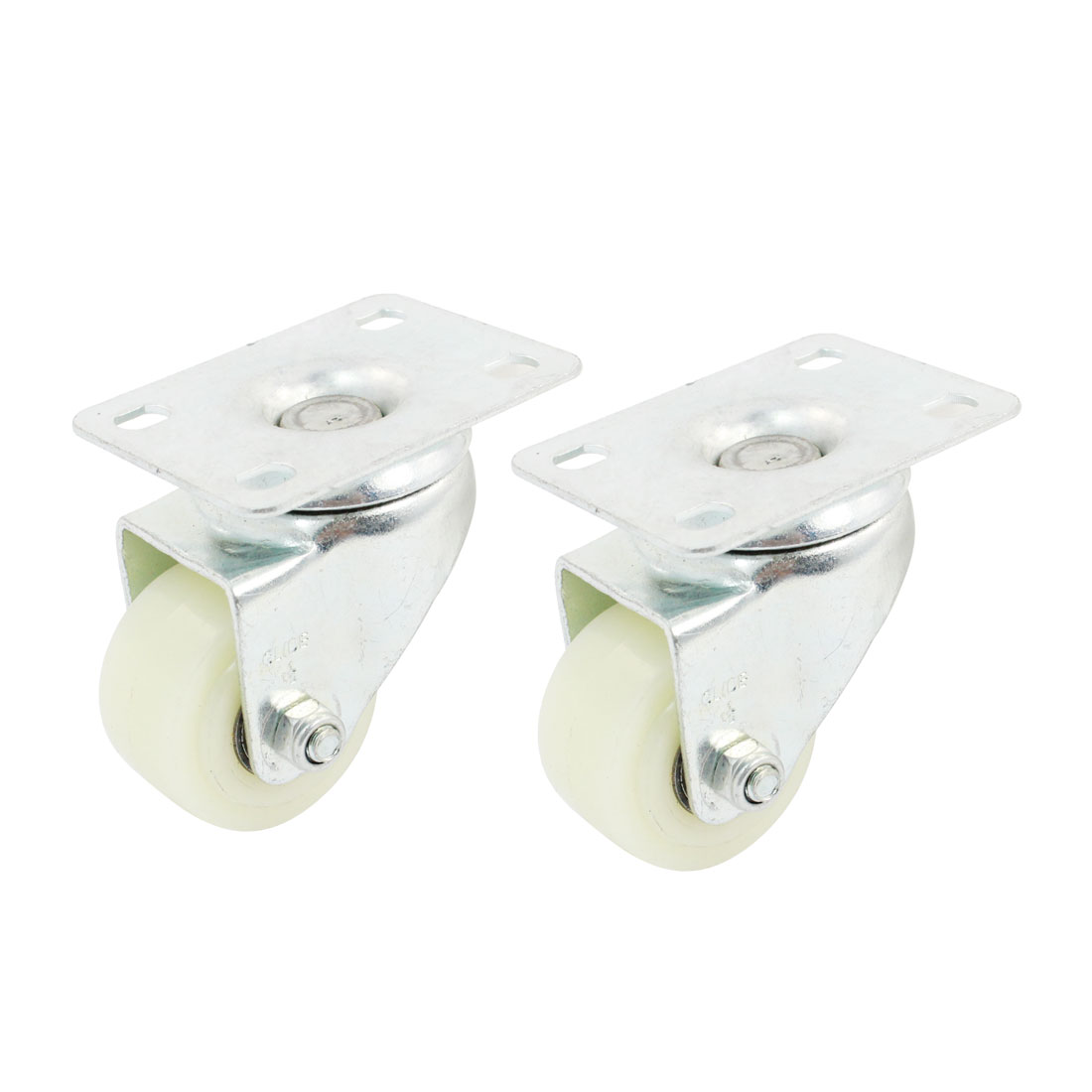 "Trolley 1.5"" Round Single Wheel Rectangle Top Plate 360 Degree Rotation Swivel Caster 2pcs"