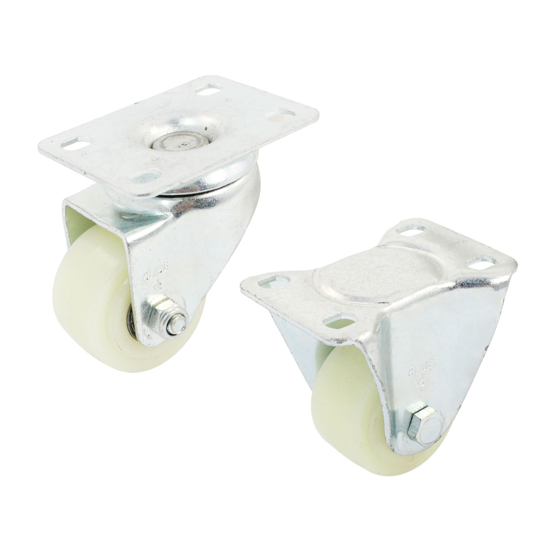 "Trolley 1.5"" Round Single Wheel Rectangle Top Plate 360 Degree Rotation Swivel Fixed Caster 4 in 1 Set"