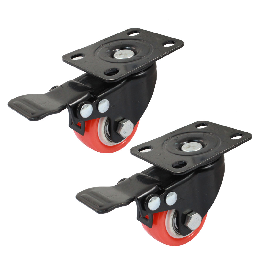 2pcs Furniture Trolley Black Orange Rotary Rectangle Plate Swivel Brake Caster