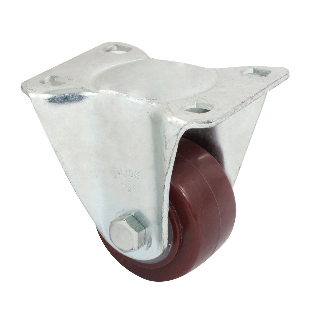Market Shopping Trolley Top Plate Fixed Caster Wheel Burgundy Silver Tone