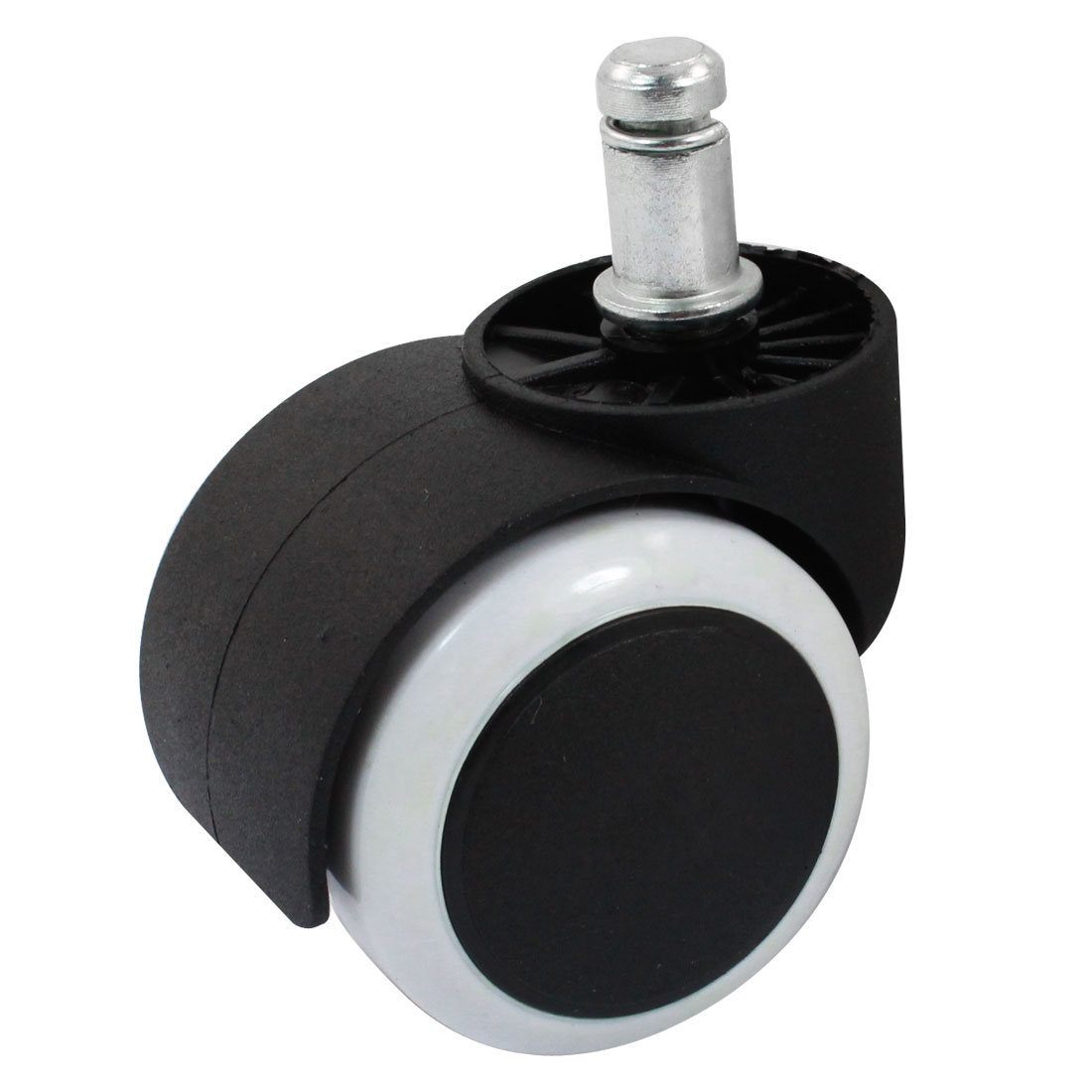 "11mm Stem Dia 2"" Twin Wheel Grip Ring Swivel Caster Black White"