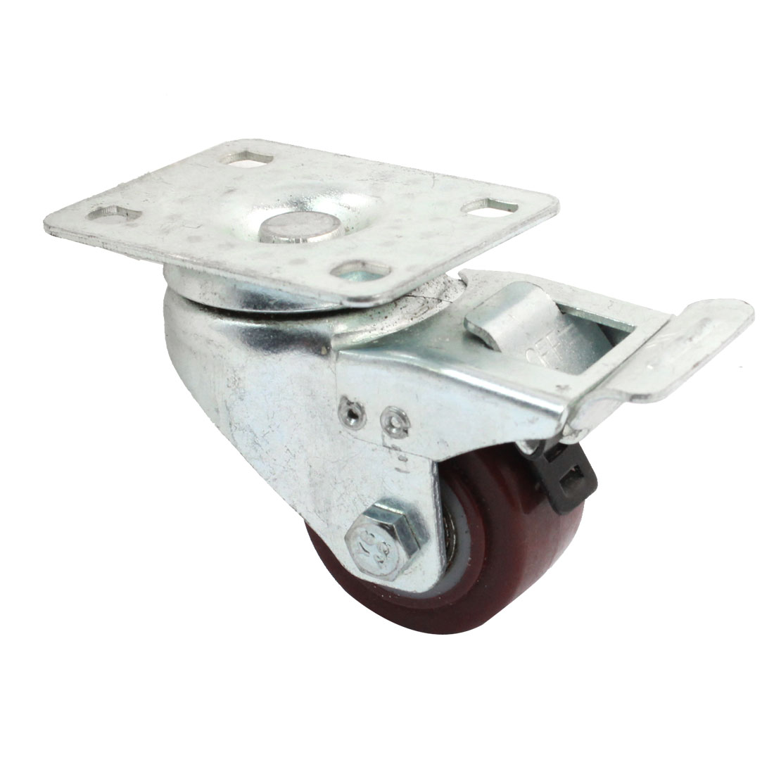 "Furniture Trolley Rotation Rectangle Plate Brake Swivel Caster 1.5"" Wheel"