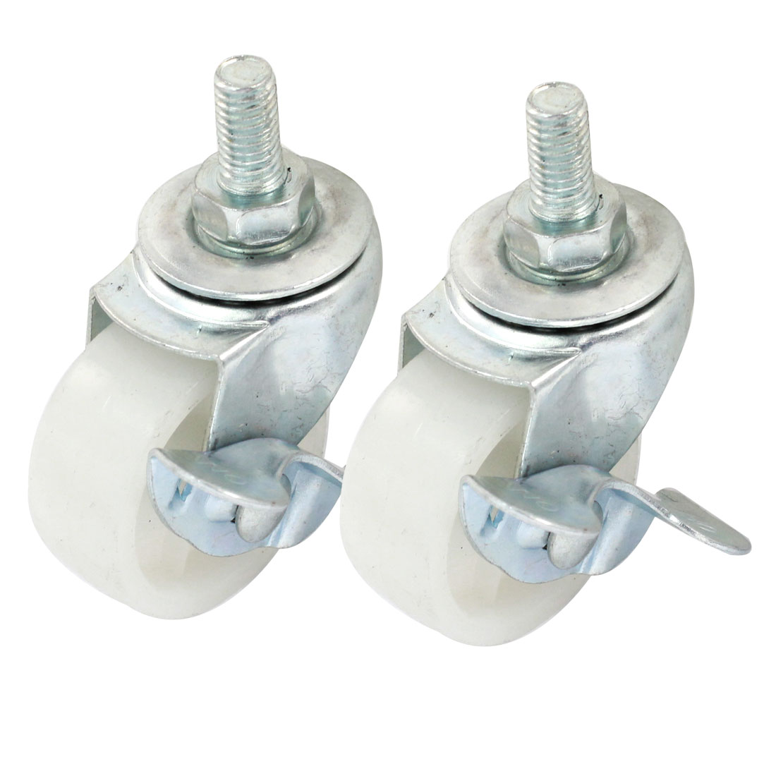 "Shopping Cart 8mm Thread Stem 1.5"" Rotary Round Wheel Swivel Brake Caster 2pcs"