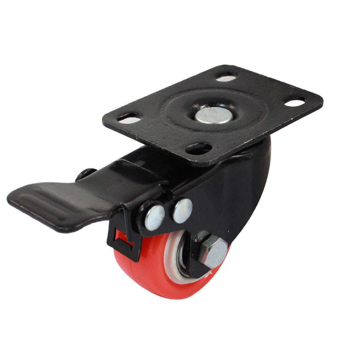 "Market Shopping Trolley Top Plate 1.5"" Wheel Swivel Brake Caster Orange Black"