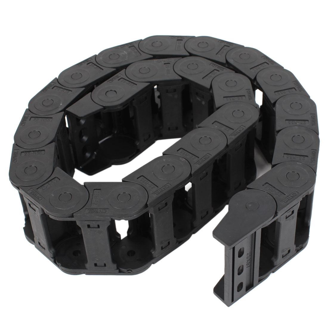 CNC Machine Black Plastic 25mmx57mm R11.5cm Cable Drag Chain 3.4Ft Long
