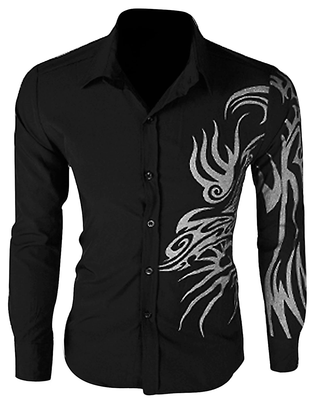 Men Long Sleeve Single Breasted Dragon Prints Shirt Black M