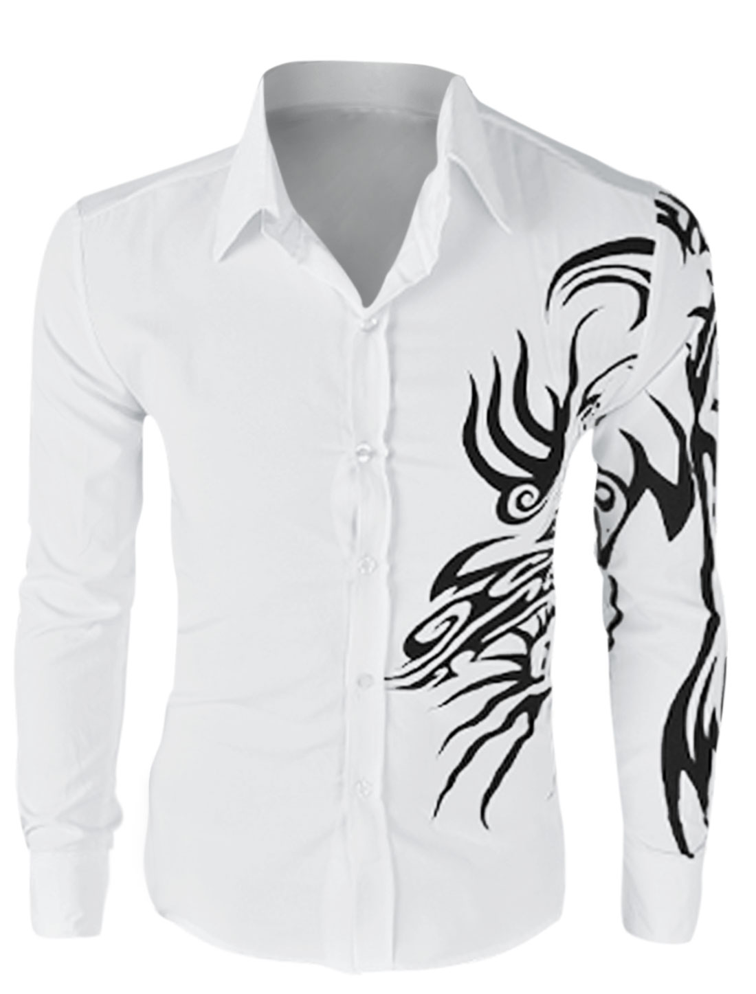 Men Long Sleeve Button Down Dragon Prints Shirt White M