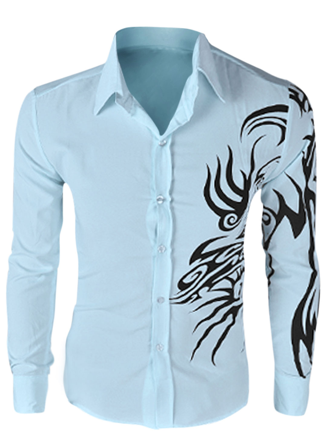 Men Long Sleeve Button Closure Dragon Prints Shirt Light Blue M