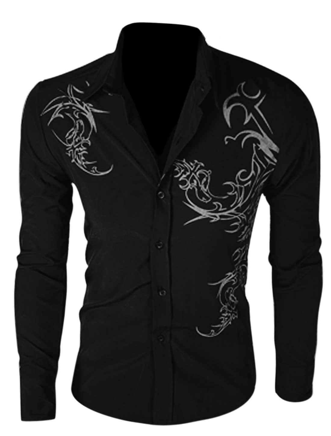 Men Long Sleeve Button Up Novelty Prints Slim Fit Shirt Black M