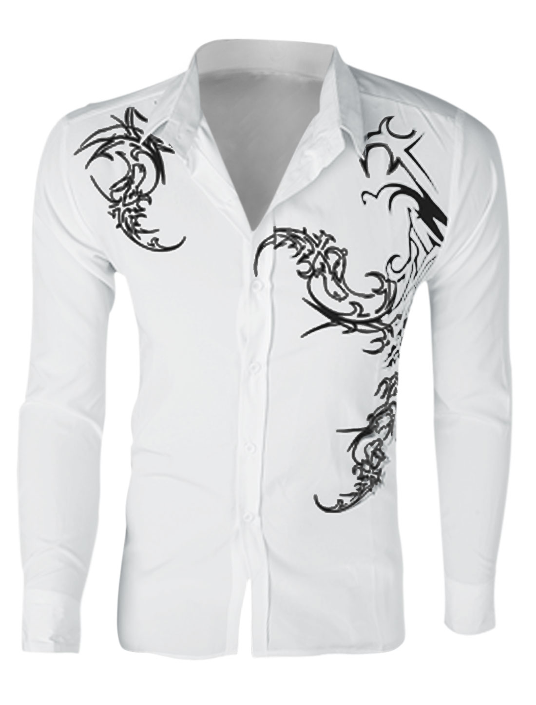 Men Long Sleeve Single Breasted Novelty Prints Slim Fit Shirt White M