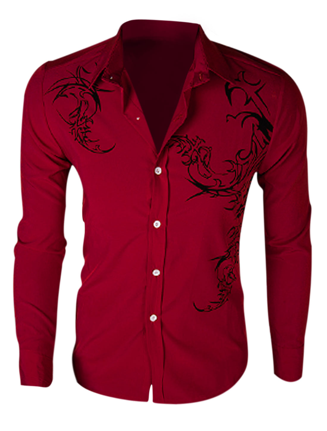 Men Long Sleeve Button Closure Novelty Prints Slim Fit Shirt Burgundy M