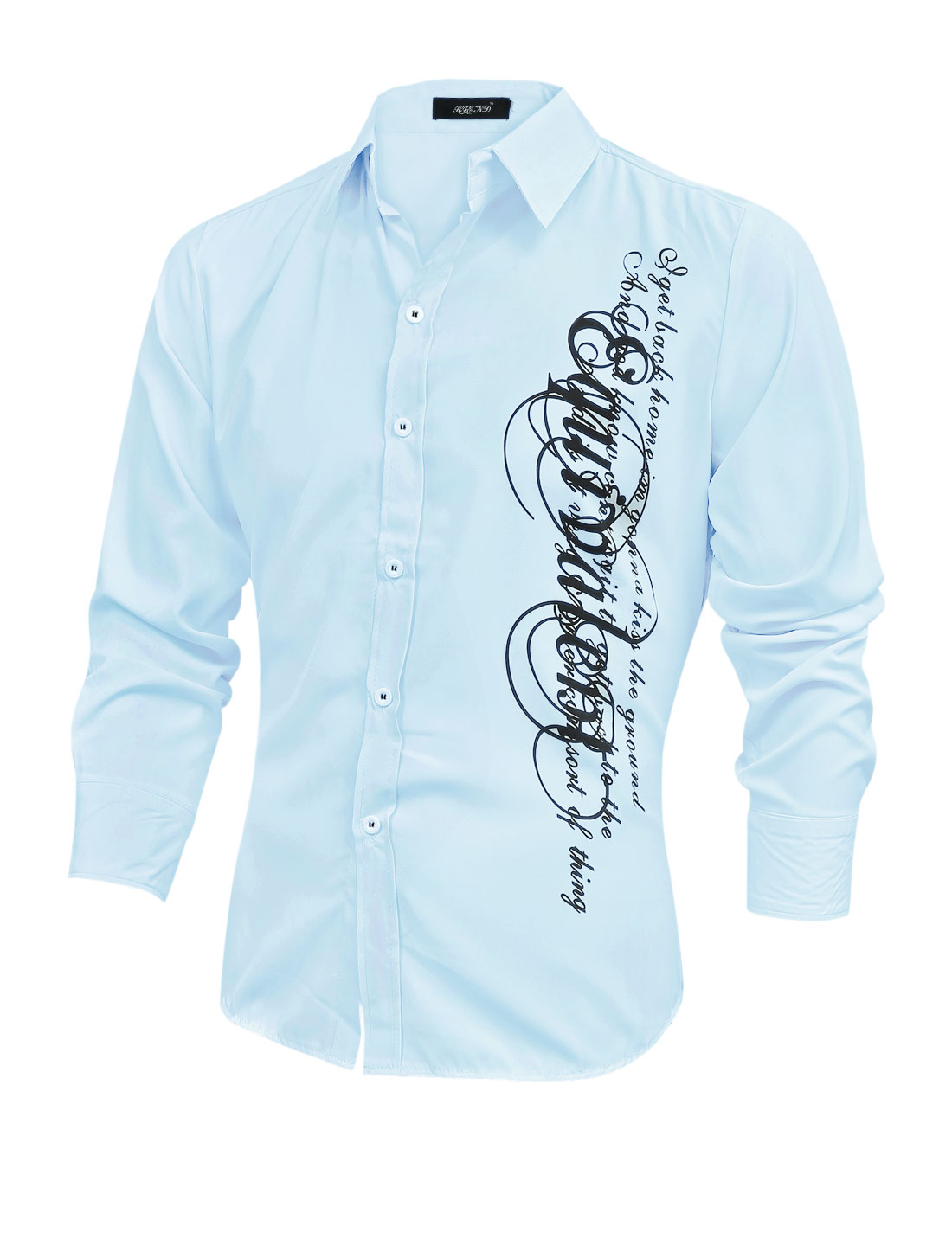 Men Long Sleeve Single Breasted Letters Prints Shirt Light Blue M