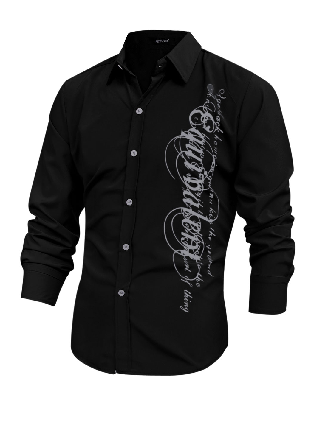 Men Long Sleeve Button Closure Letters Prints Shirt Black M