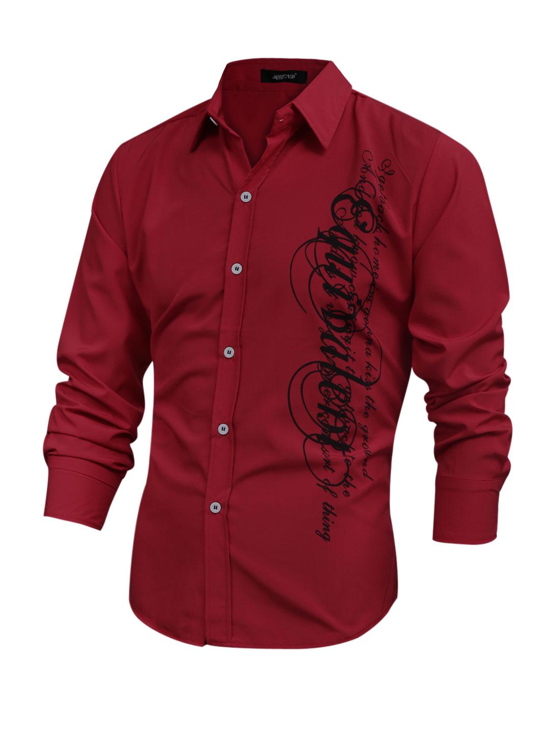 Men Slim Fit Long Sleeve Letters Prints Shirt Red M