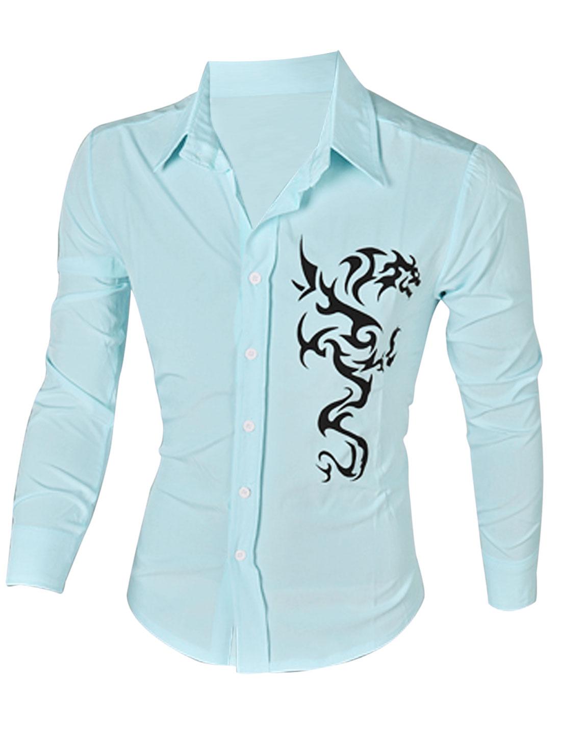 Men Long Sleeve Button Up Florals Prints Slim Fit Shirt Light Blue L