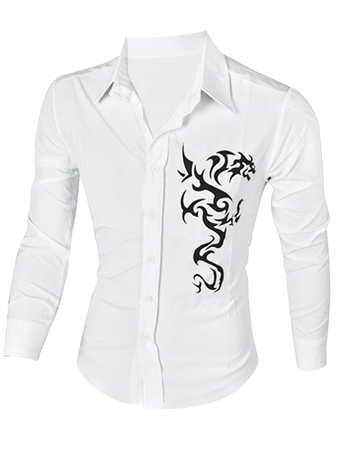 Men Long Sleeve Single Breasted Florals Prints Slim Fit Shirt White L