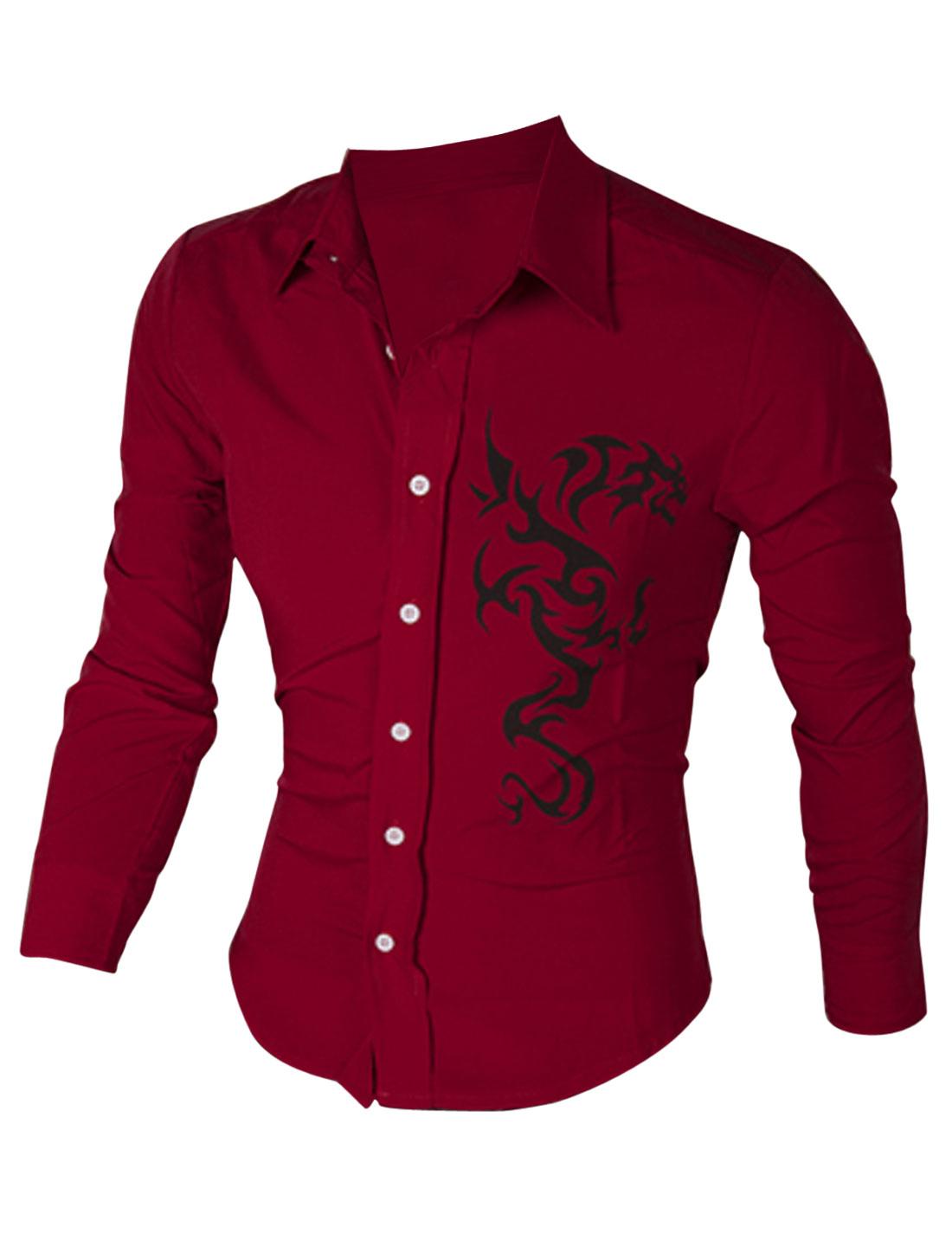 Men Long Sleeve Button Closure Florals Prints Slim Fit Shirt Burgundy L