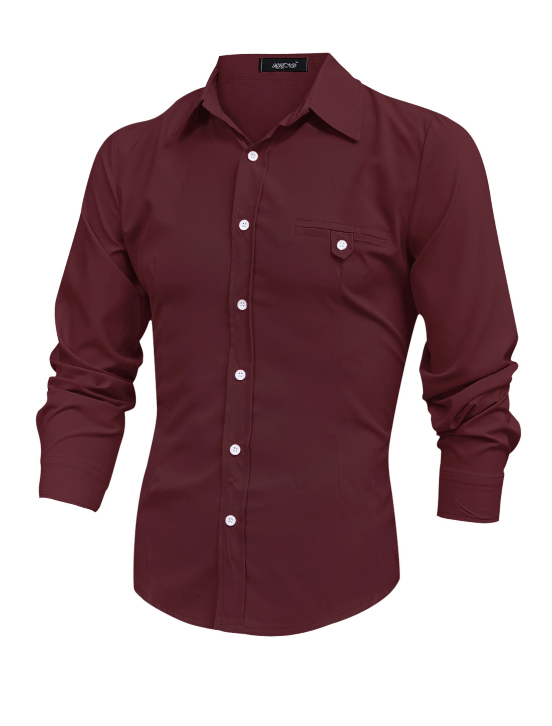 Men Long Sleeve Button Up Mock Welt Button Pocket Shirt Burgundy M