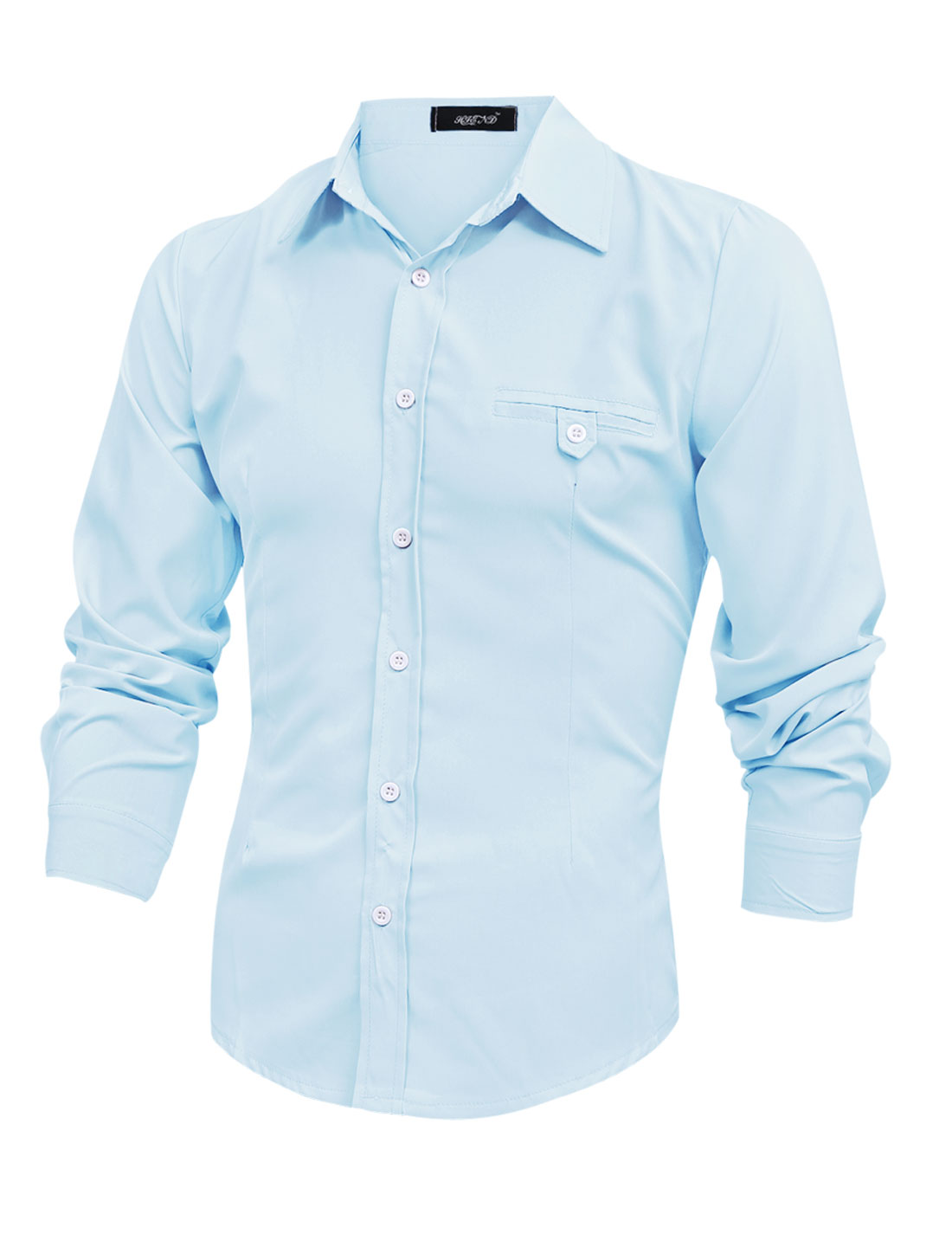 Men Long Sleeve Button Down Mock Welt Button Pocket Shirt Light Blue M