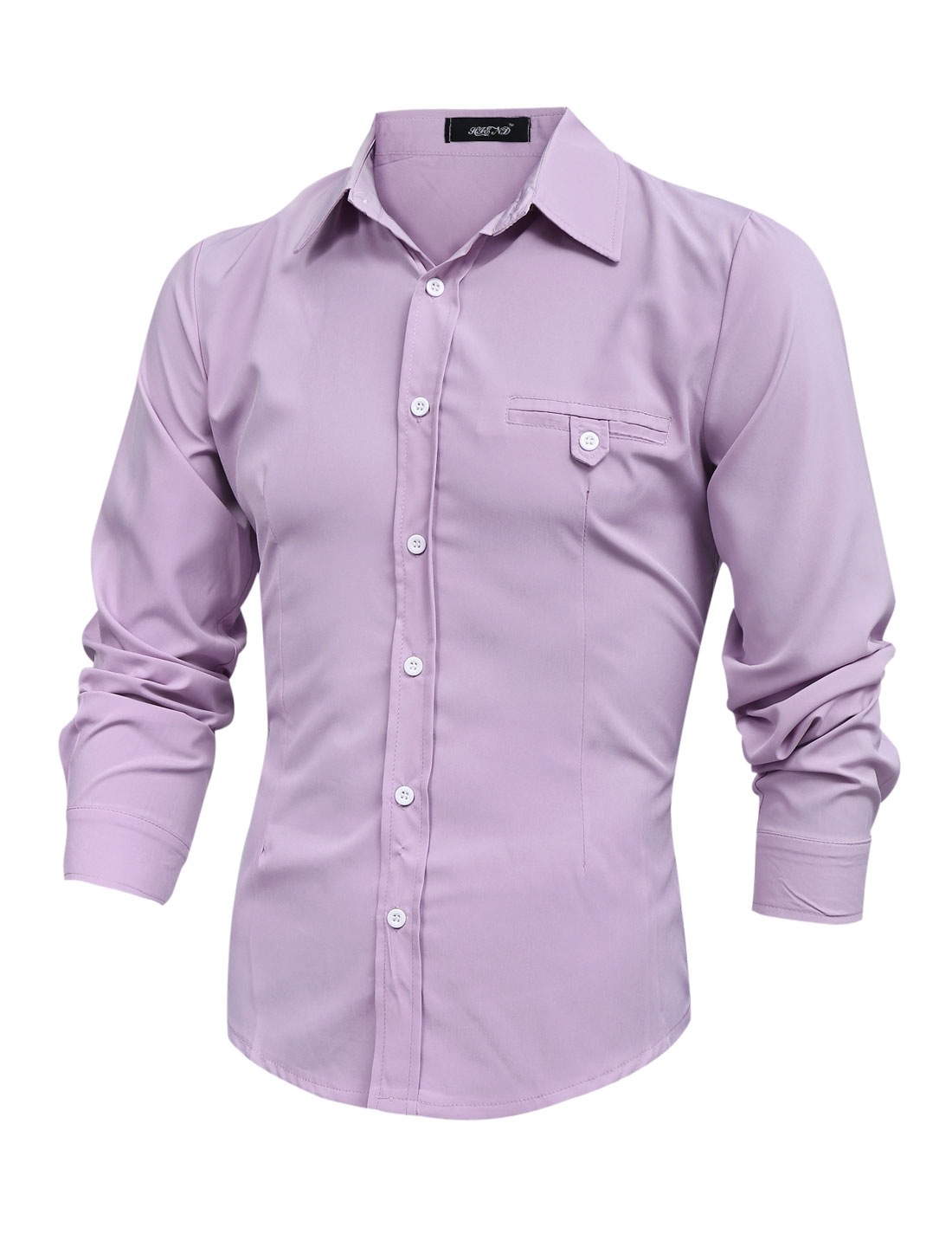 Men Long Sleeve Button Front Mock Welt Button Pocket Shirt Lavender M