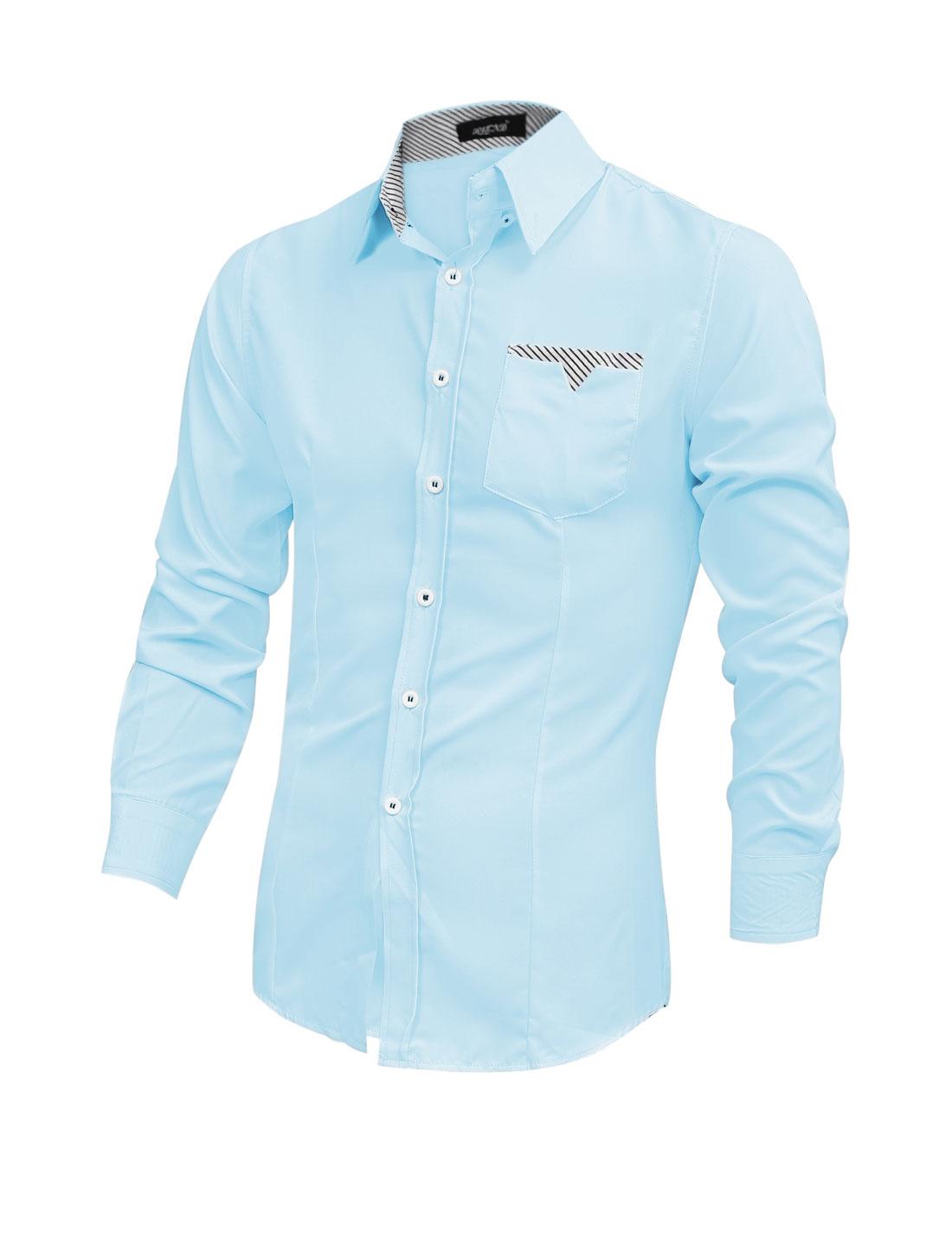 Men Long Sleeve Single Breasted Single Chest Pocket Shirt Light Blue M