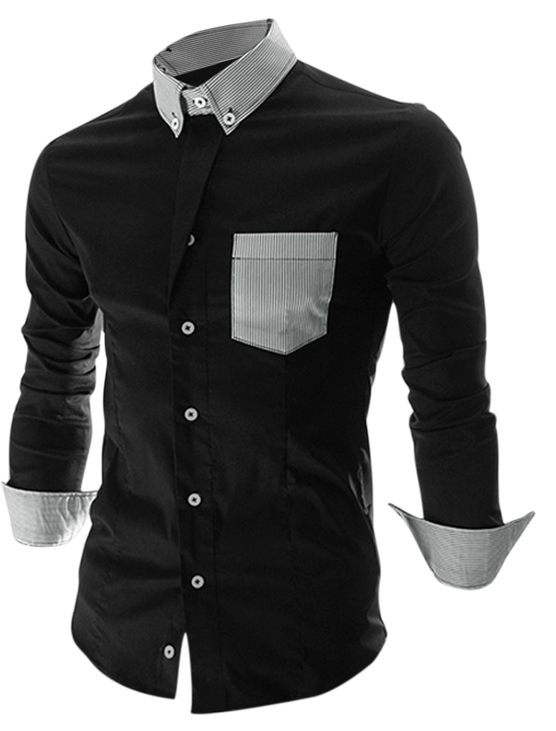 Men Long Sleeve Single Breasted Stripes Colorblock Shirt Black M