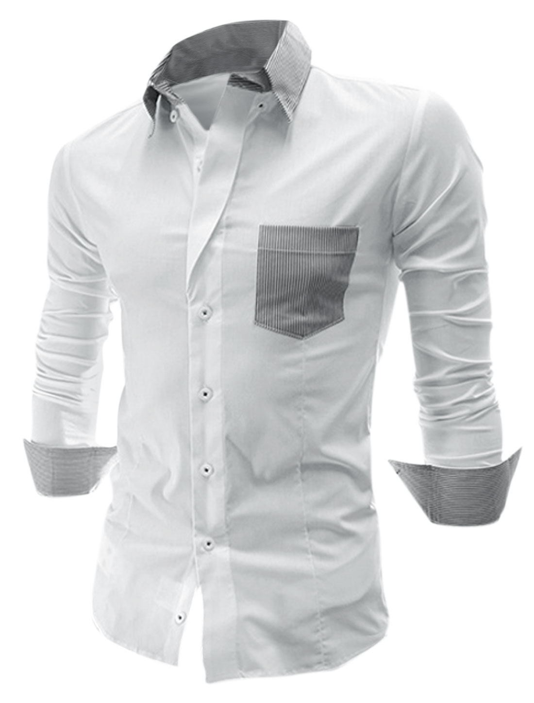 Men Long Sleeve Button Closure Stripes Colorblock Shirt White M