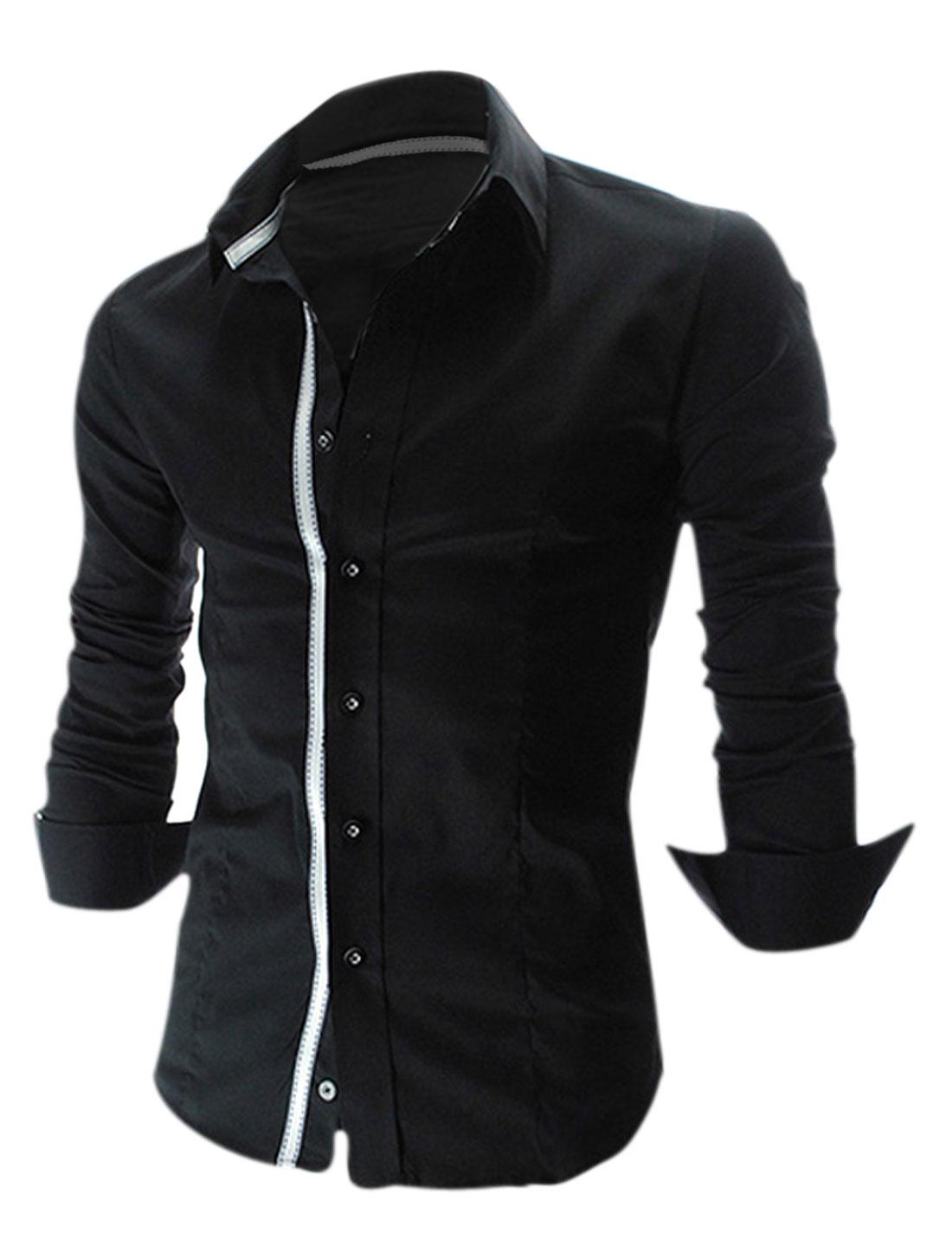 Men Button Up Long Sleeve Shirt Black M