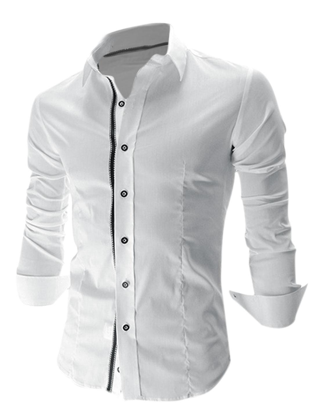 Men Single Breasted Long Sleeve Shirt White M