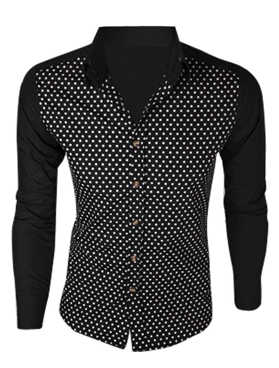 Men Long Sleeve Dots Prints Button Closure Colorblock Shirt Black M
