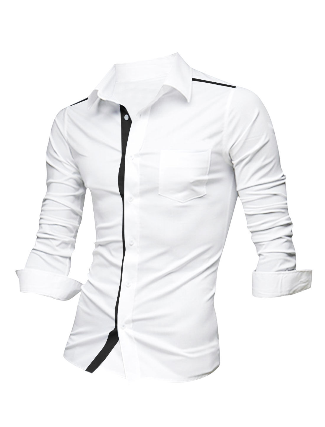 Men Single Breasted One Chest Pocket Soft Shirt White Black L