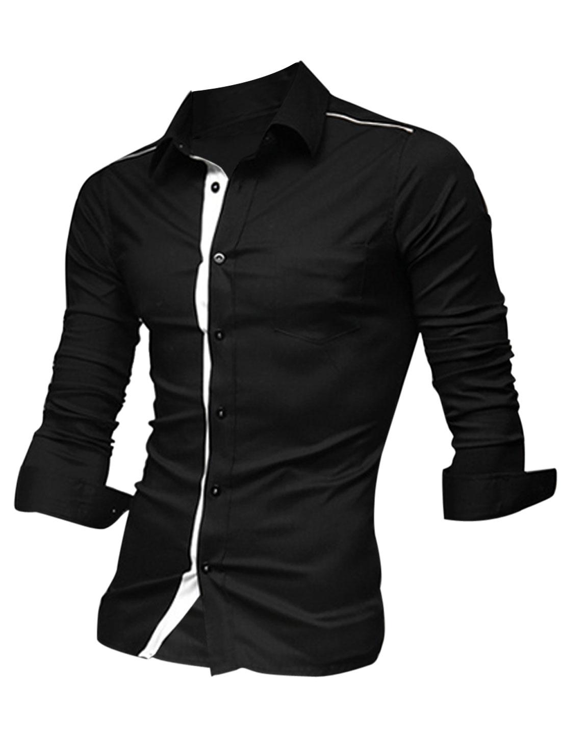 Men Button Closure One Chest Pocket Soft Shirt Black L