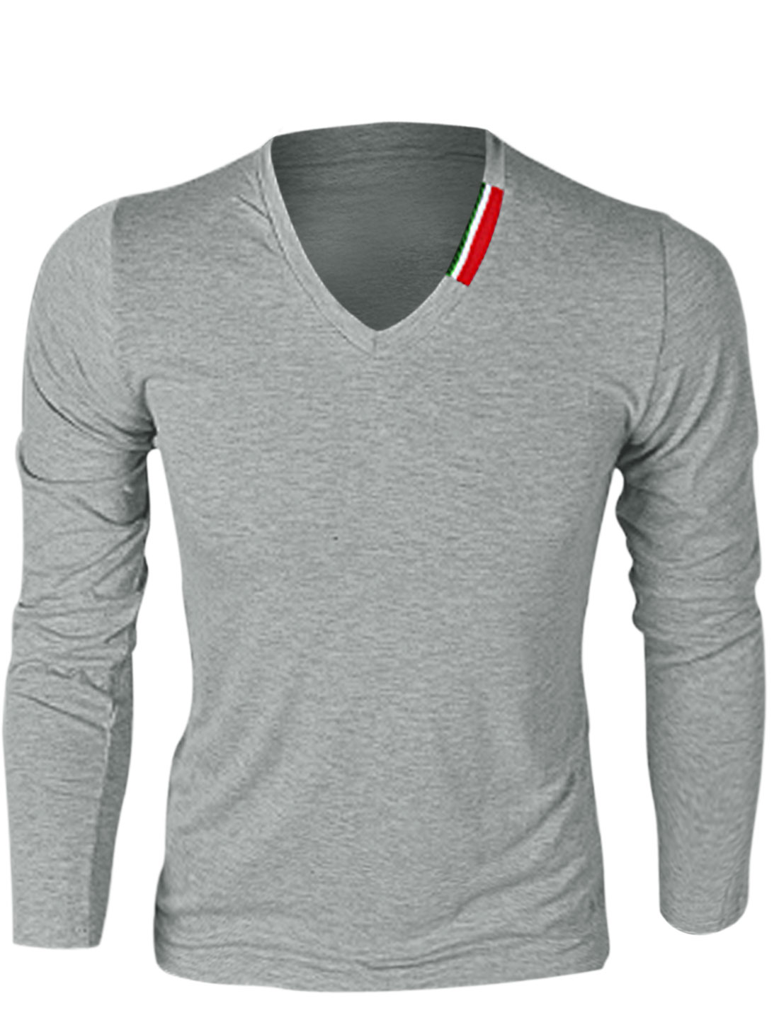 Men V Neck Long Sleeve Pure Pattern Simple T-Shirt Light Gray M