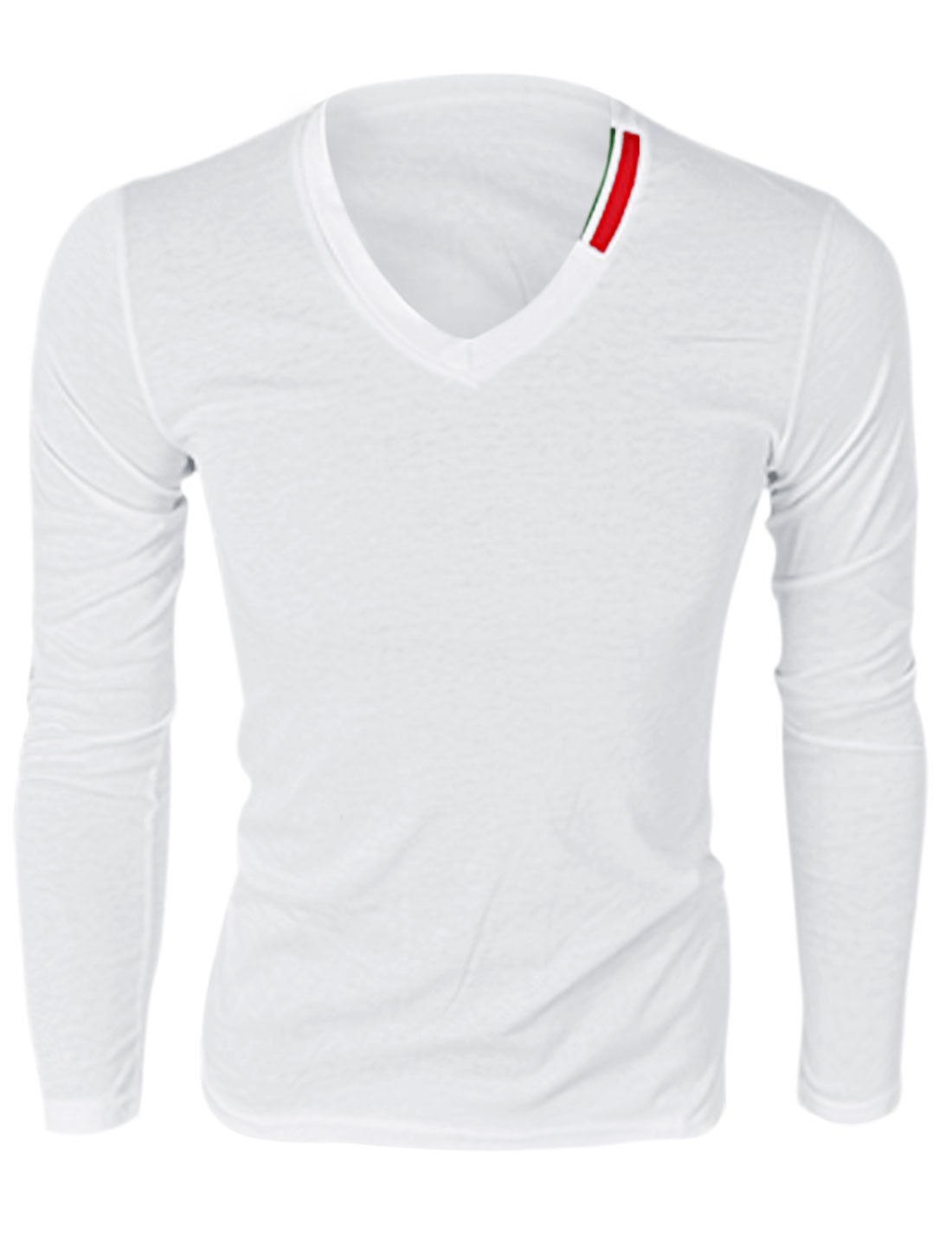Men V Neck Long Sleeve Simple T-Shirt White M