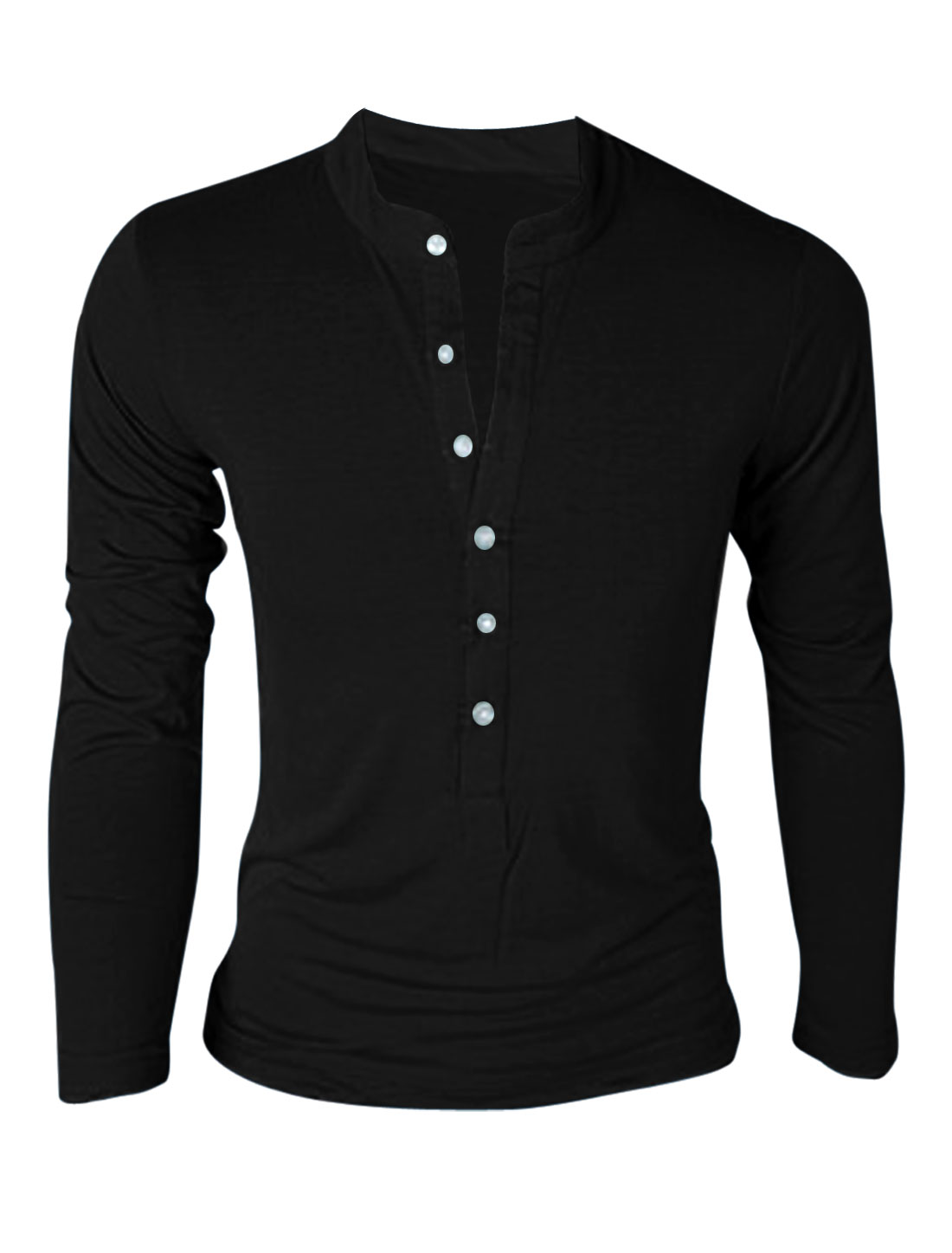 Men Stand Collar Button Up Long Sleeve Pullover T-Shirt Black M