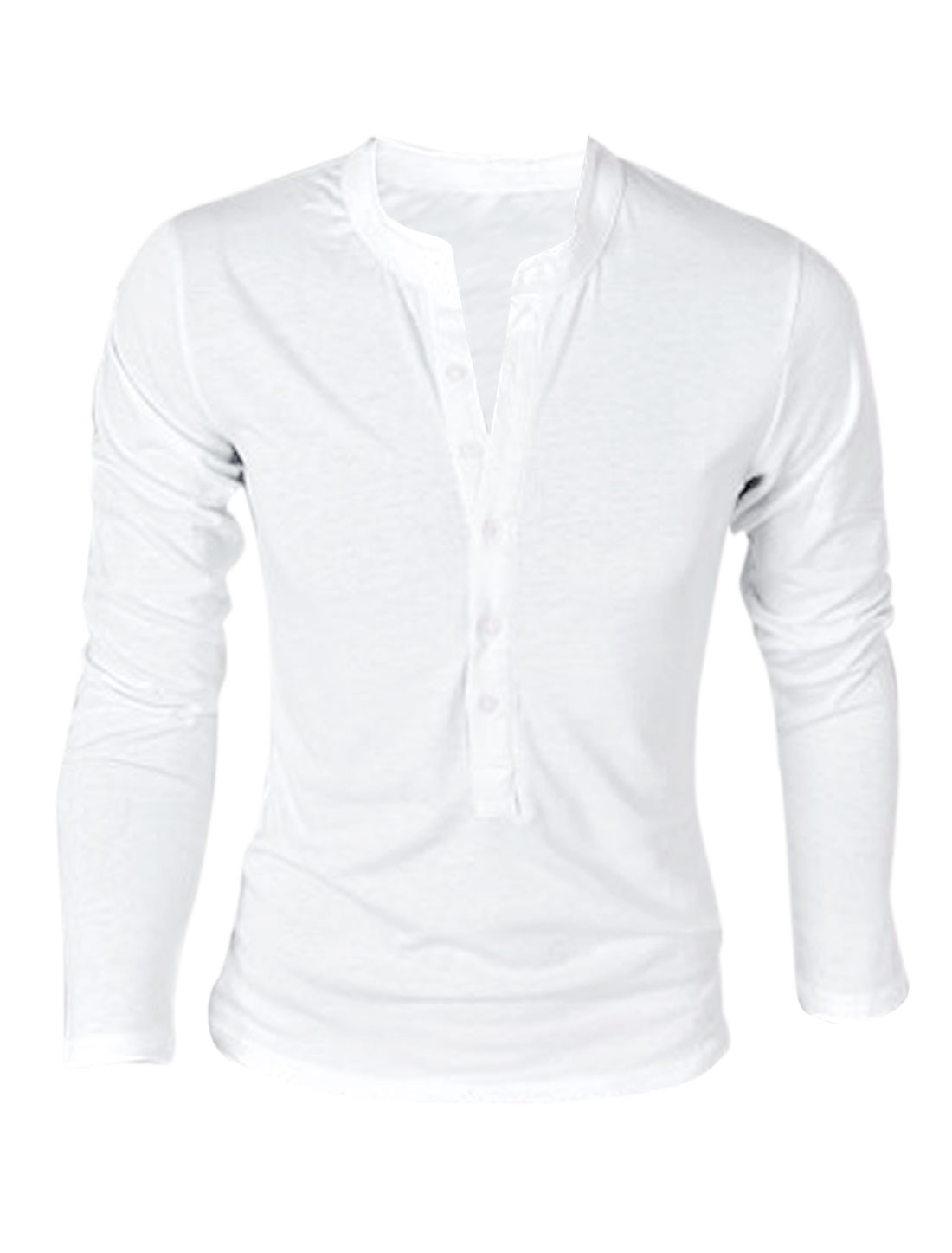 Men Stand Collar Button Down Long Sleeve Pullover T-Shirt White M