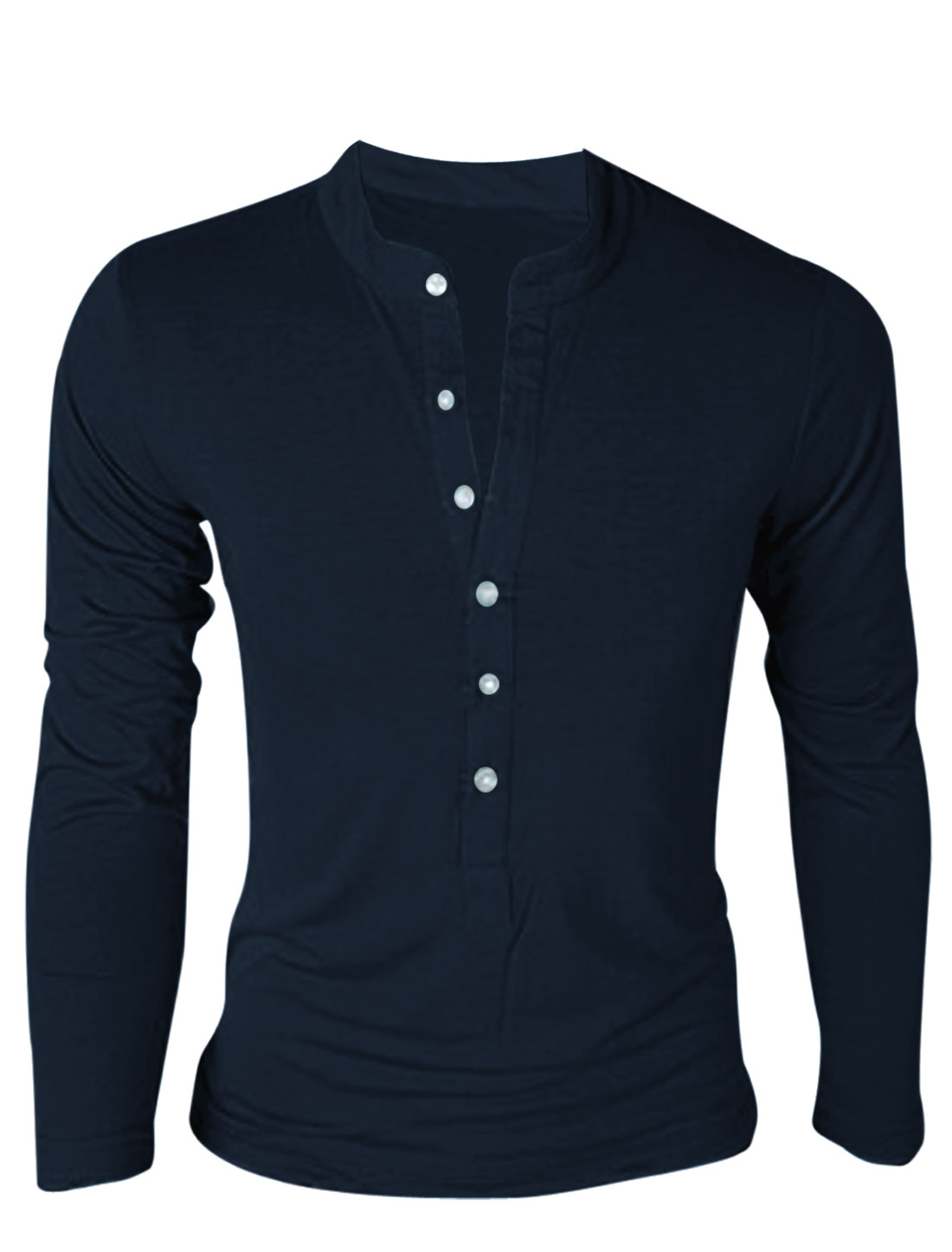 Men Stand Collar Single Breasted Long Sleeve Pullover T-Shirt Navy Blue M