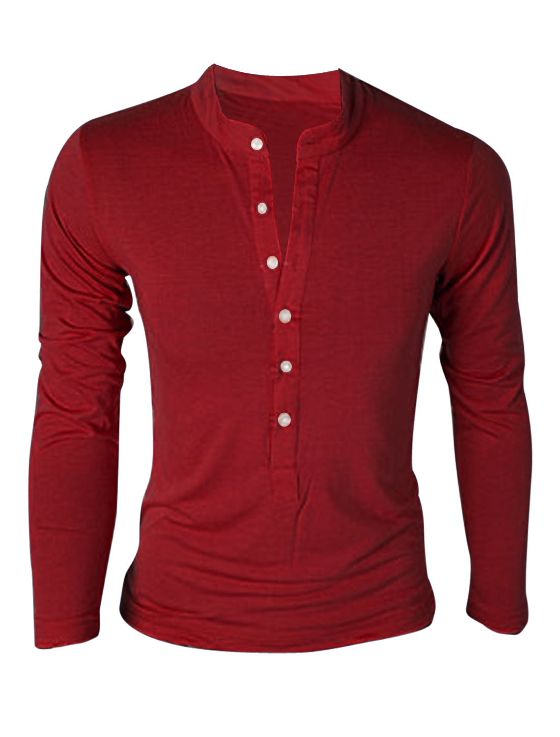 Men Stand Collar Button Front Long Sleeve Pullover T-Shirt Burgundy M