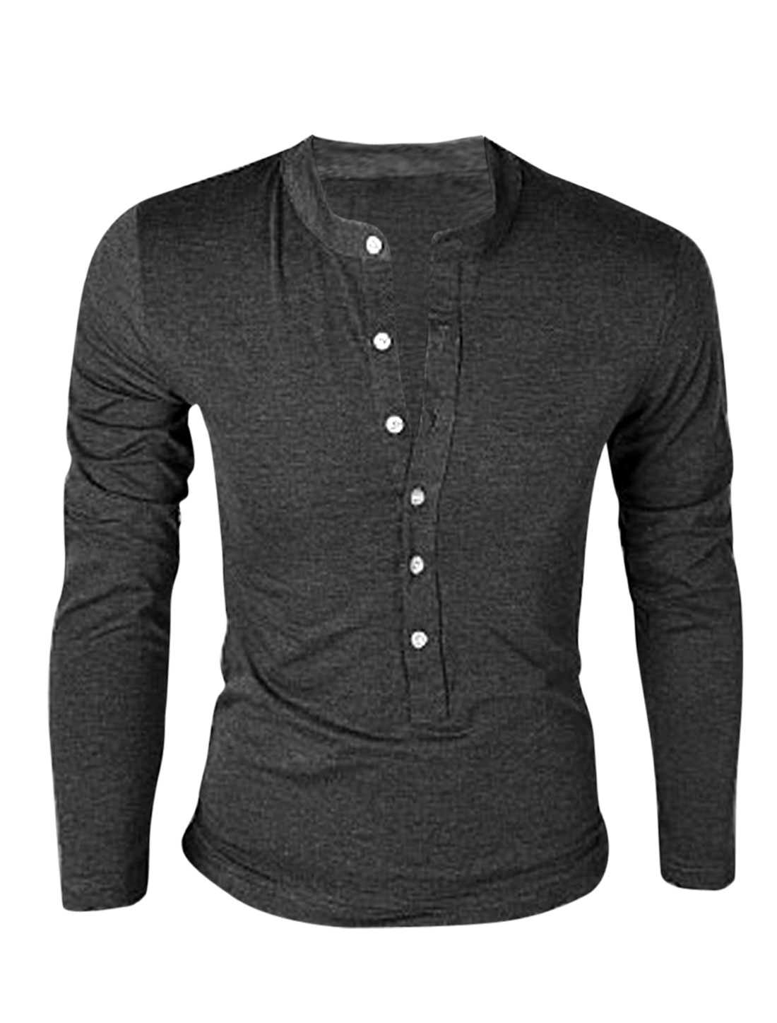 Men Stand Collar Button Closure Long Sleeve Pullover T-Shirt Dark Gray M