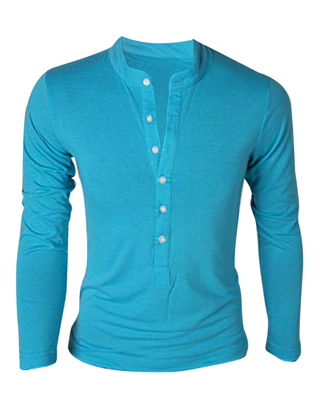 Men Stand Collar Single Breasted Solid Color Pullover T-Shirt Blue M